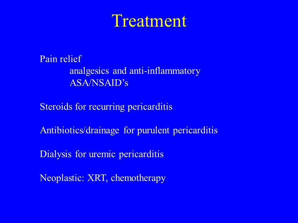 Treatment Pain relief analgesics and anti-inflammatory ASA/NSAID's
