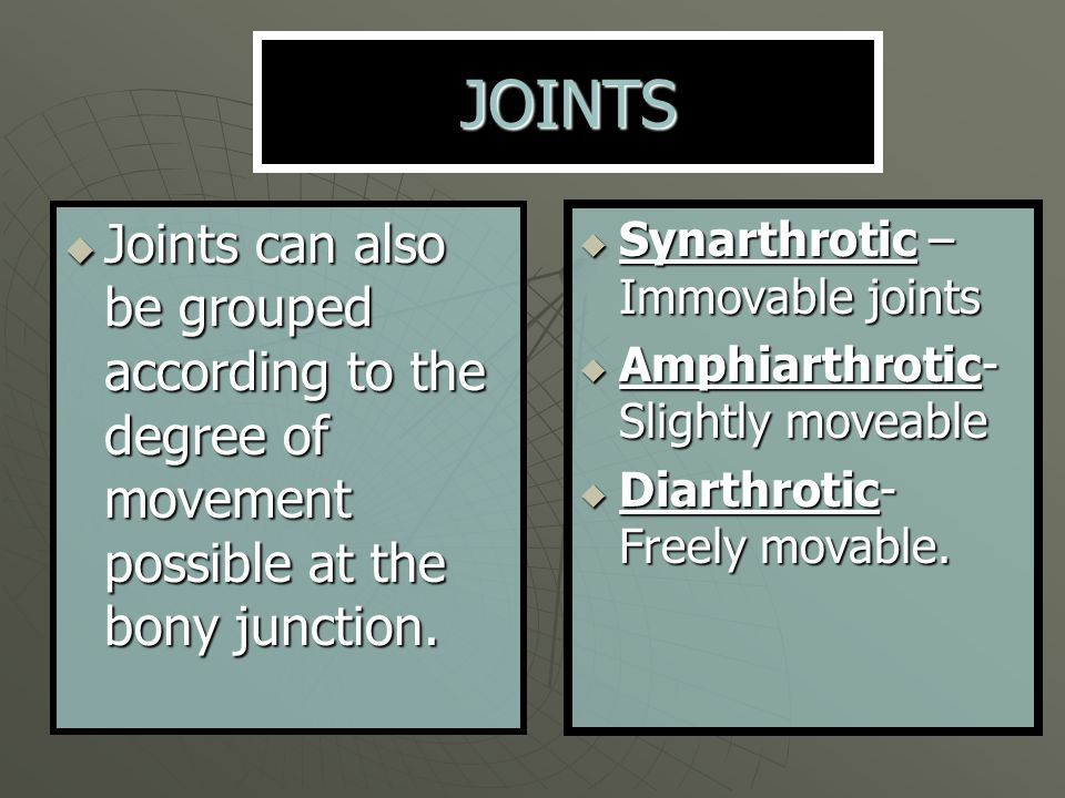 JOINTS Joints can also be grouped according to the degree of movement possible at the bony junction.