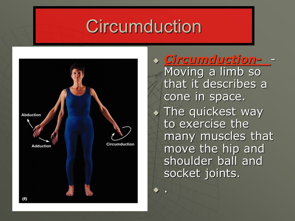 Circumduction Circumduction- - Moving a limb so that it describes a cone in space.