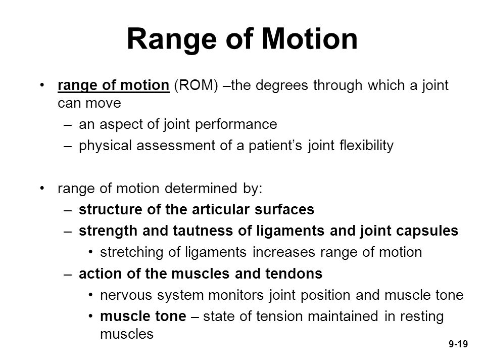 Range of Motion range of motion (ROM) –the degrees through which a joint can move. an aspect of joint performance.