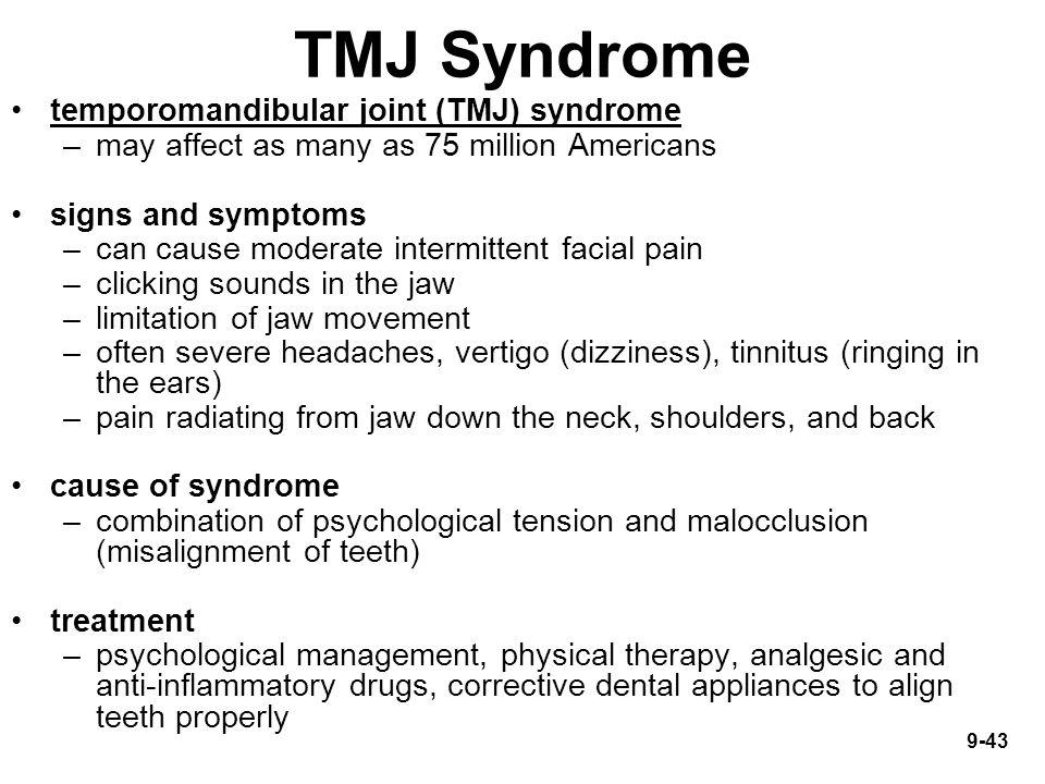 TMJ Syndrome temporomandibular joint (TMJ) syndrome