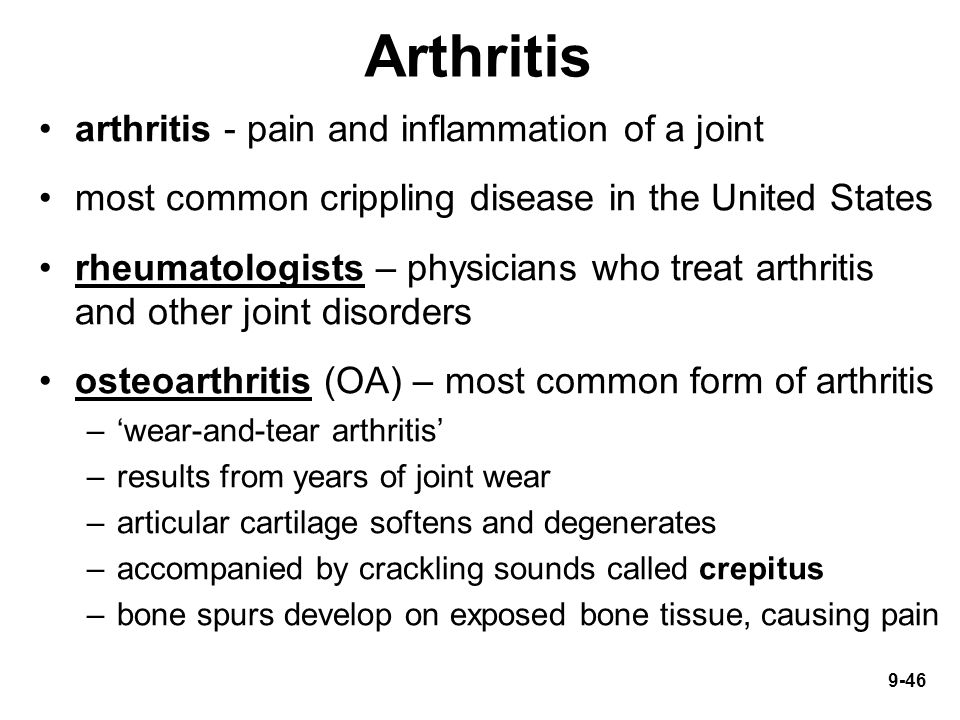 Arthritis arthritis - pain and inflammation of a joint