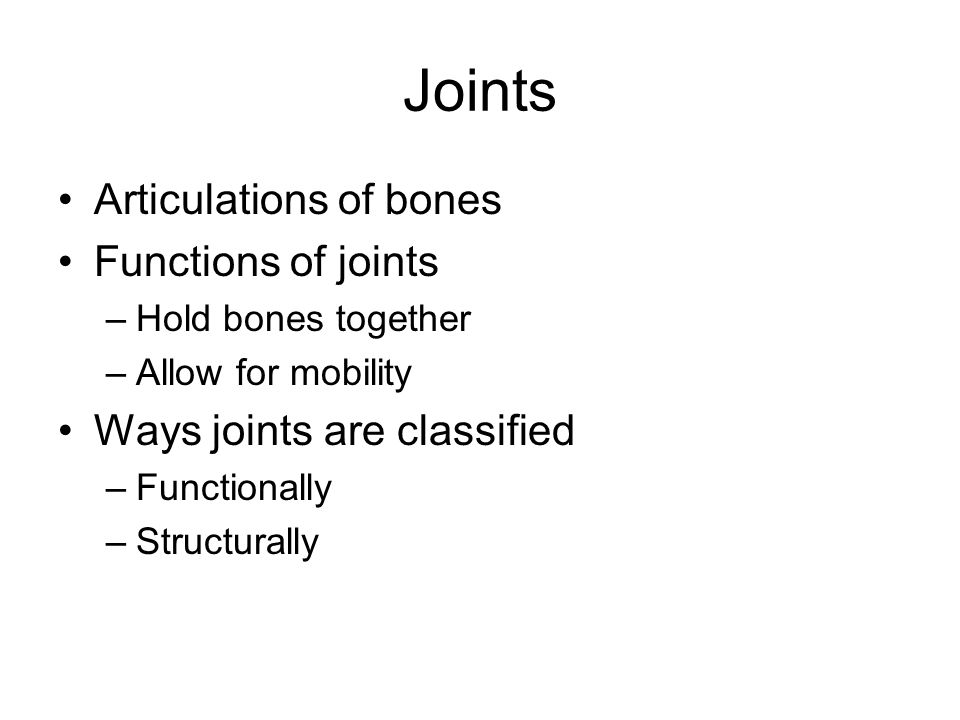 Joints Articulations of bones Functions of joints