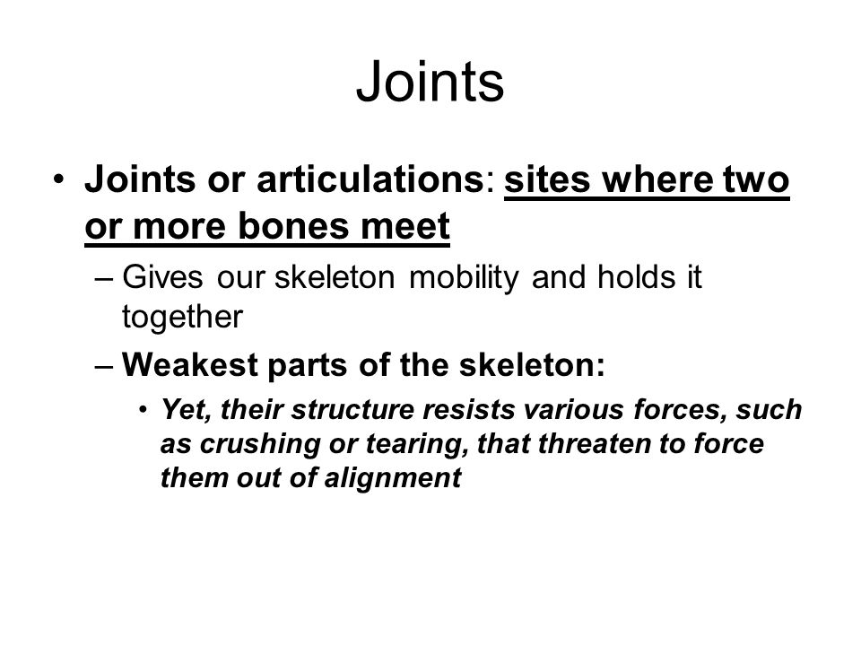 Joints Joints or articulations: sites where two or more bones meet