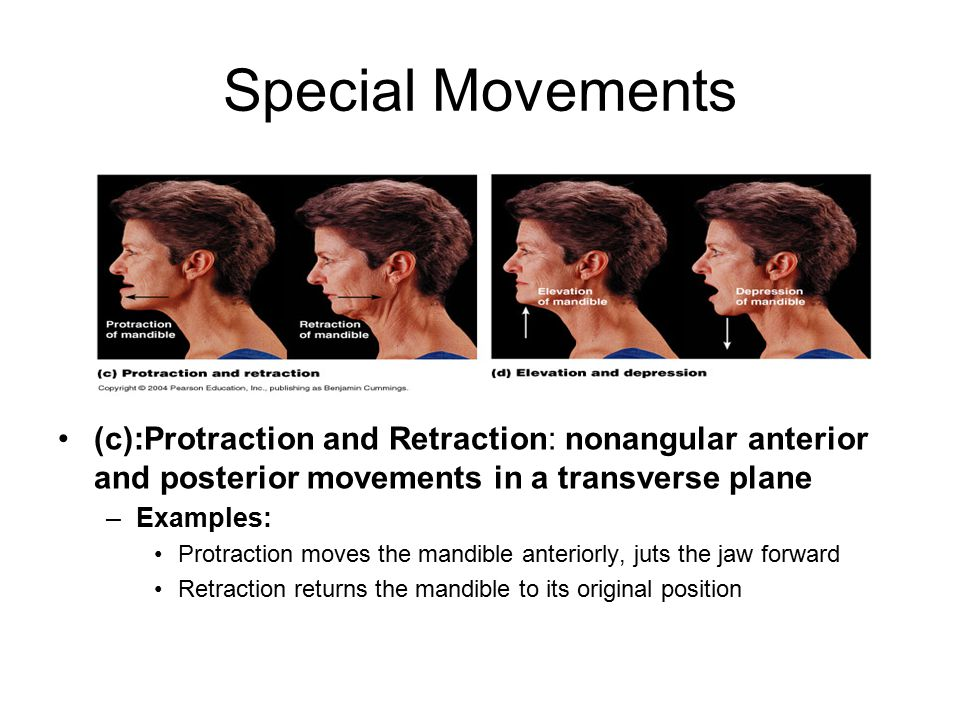 Special Movements (c):Protraction and Retraction: nonangular anterior and posterior movements in a transverse plane.