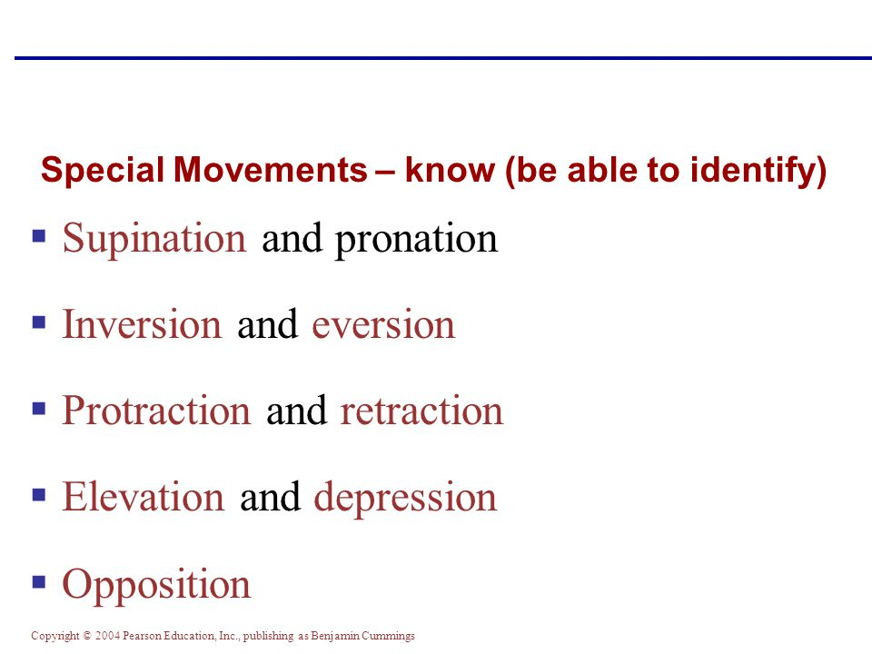 Special Movements – know (be able to identify)