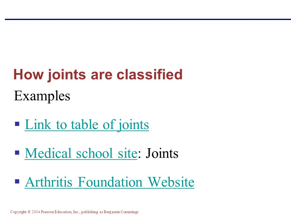 How joints are classified