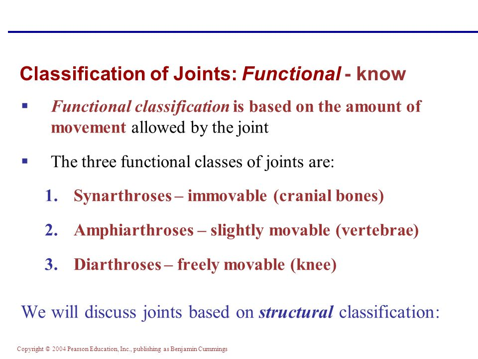 Classification of Joints: Functional - know