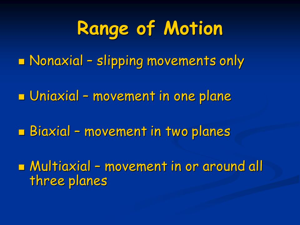 Range of Motion Nonaxial – slipping movements only