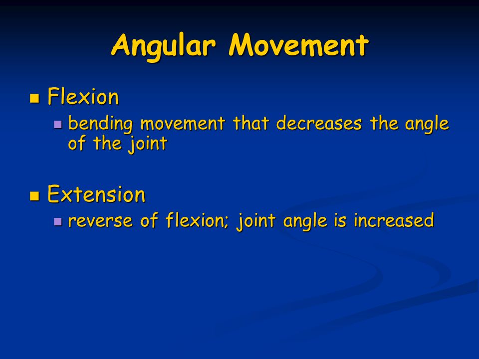 Angular Movement Flexion Extension