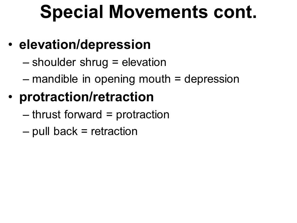 Special Movements cont.