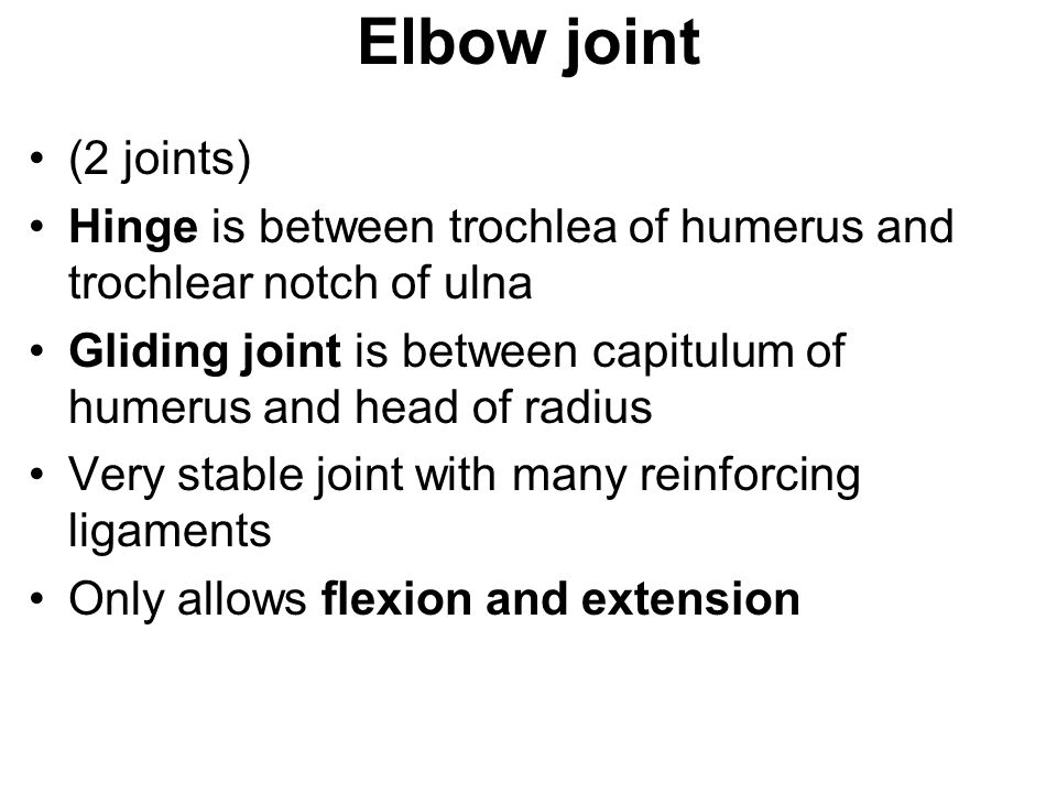 Elbow joint (2 joints) Hinge is between trochlea of humerus and trochlear notch of ulna.