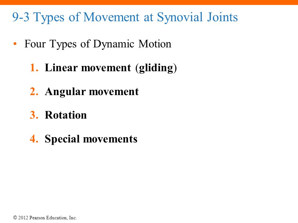 9-3 Types of Movement at Synovial Joints