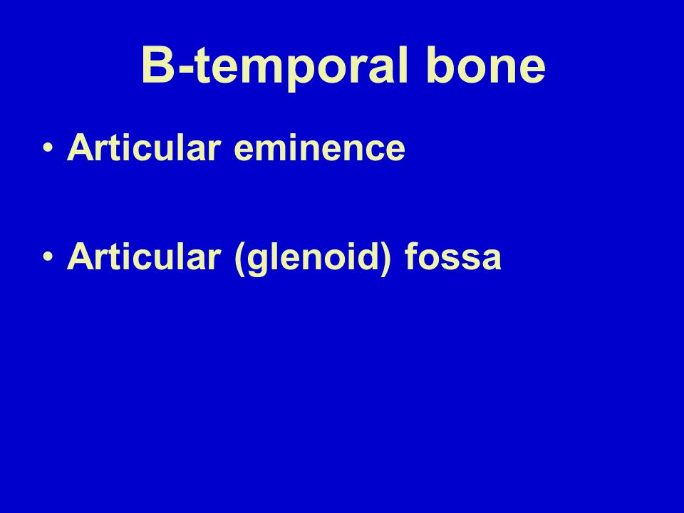 B-temporal bone Articular eminence Articular (glenoid) fossa