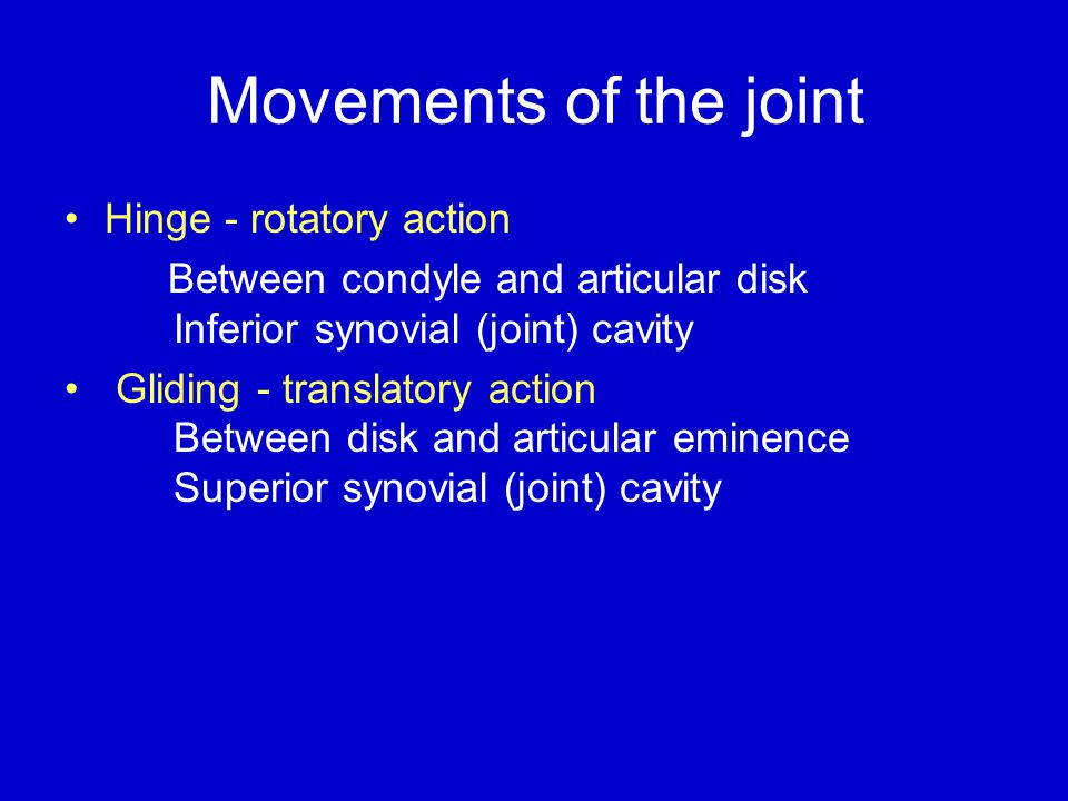 Movements of the joint Hinge - rotatory action