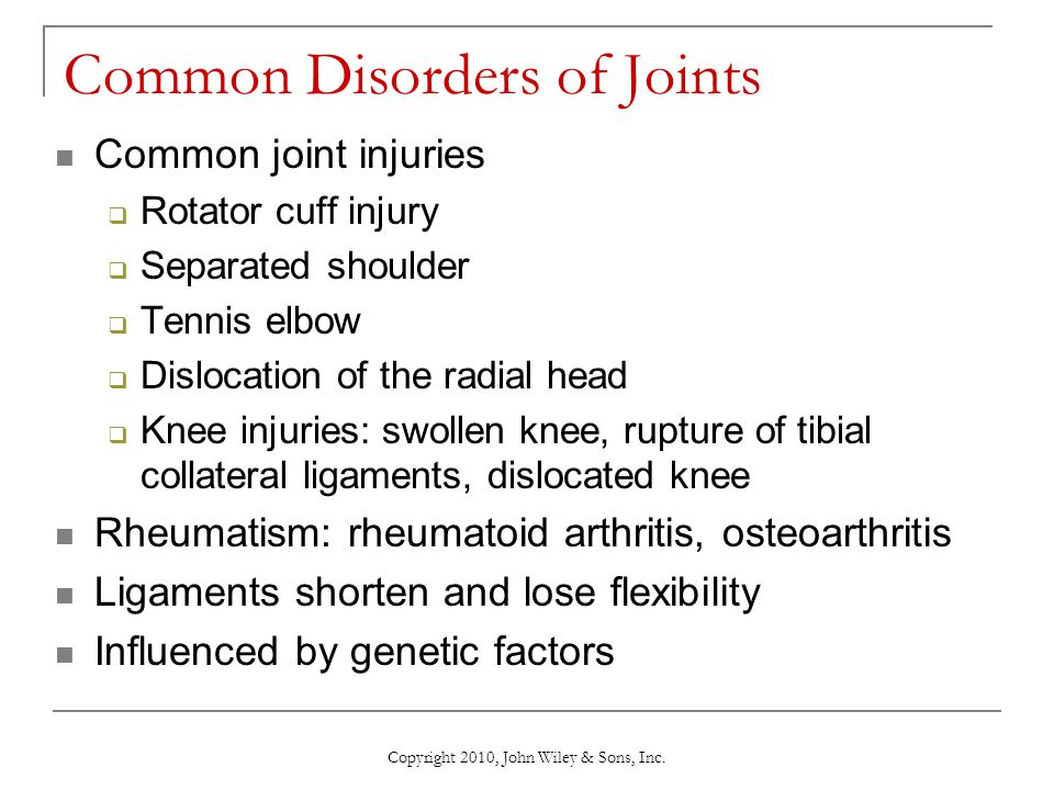 Common Disorders of Joints