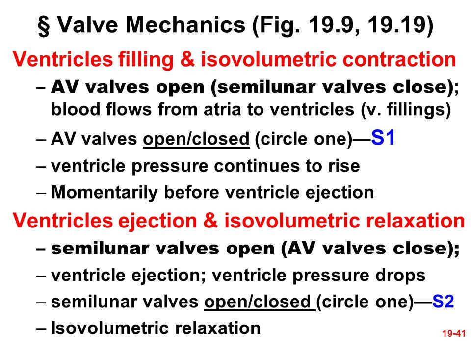 § Valve Mechanics (Fig. 19.9, 19.19)