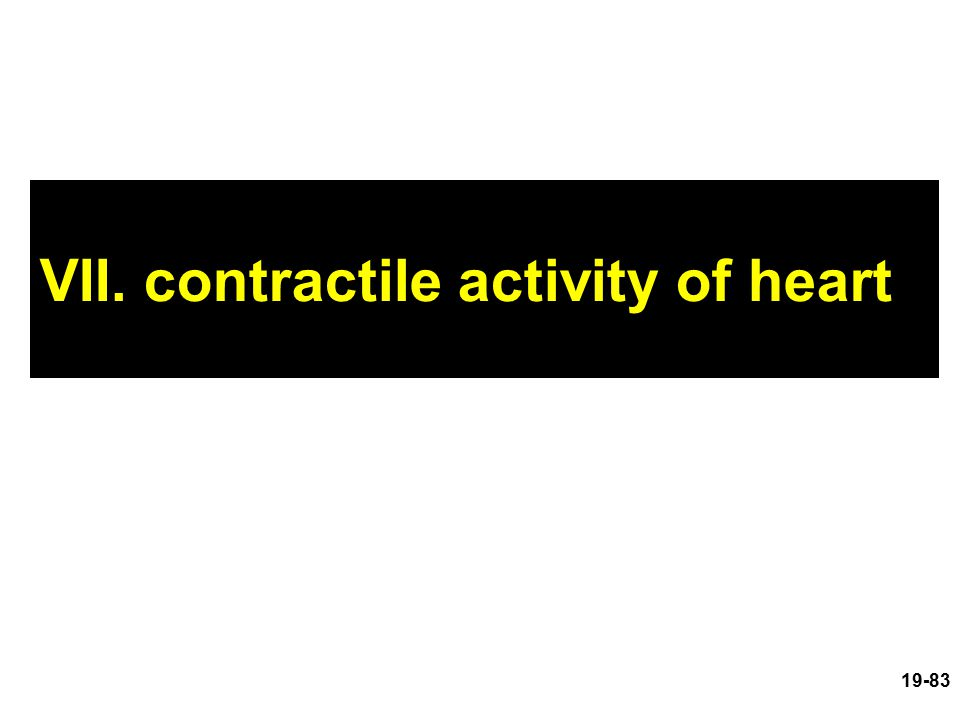 VII. contractile activity of heart