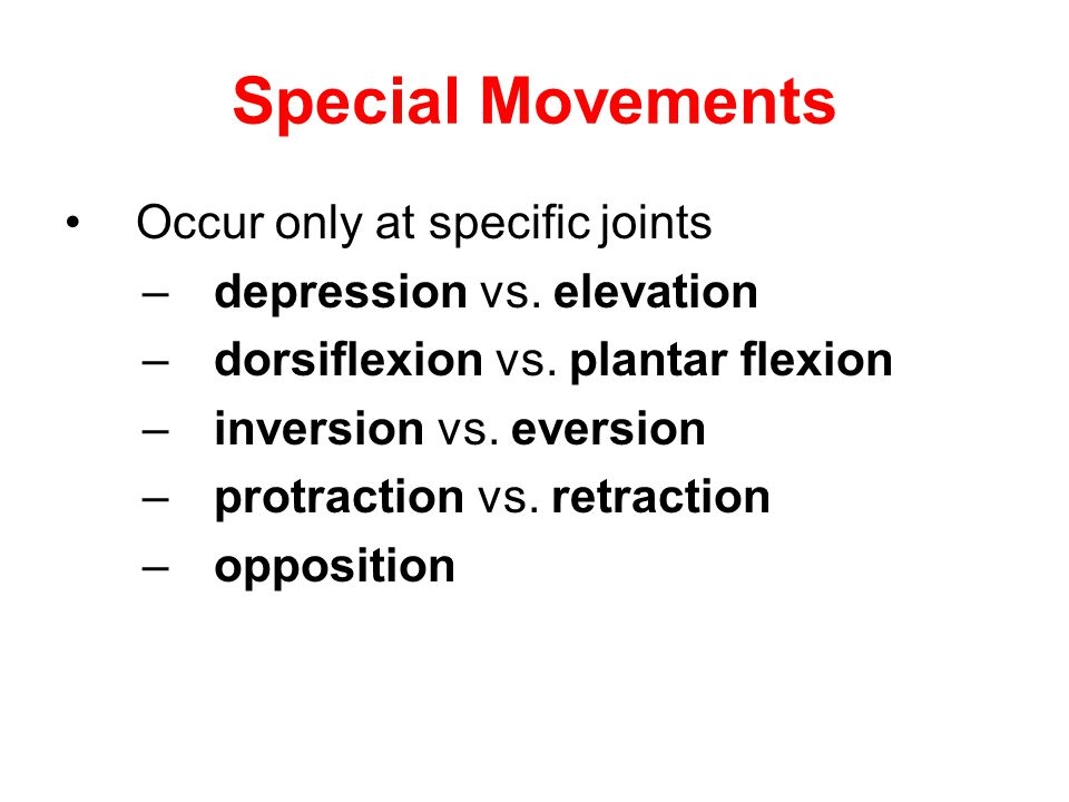 Special Movements Occur only at specific joints