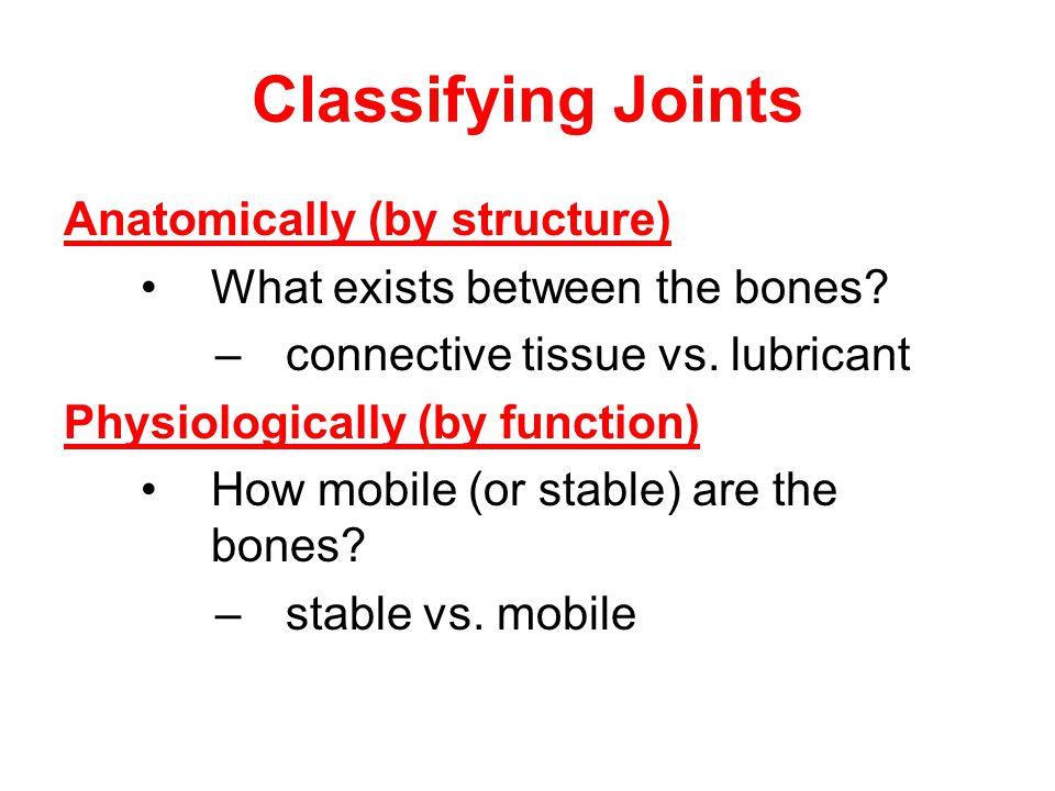Classifying Joints Anatomically (by structure)