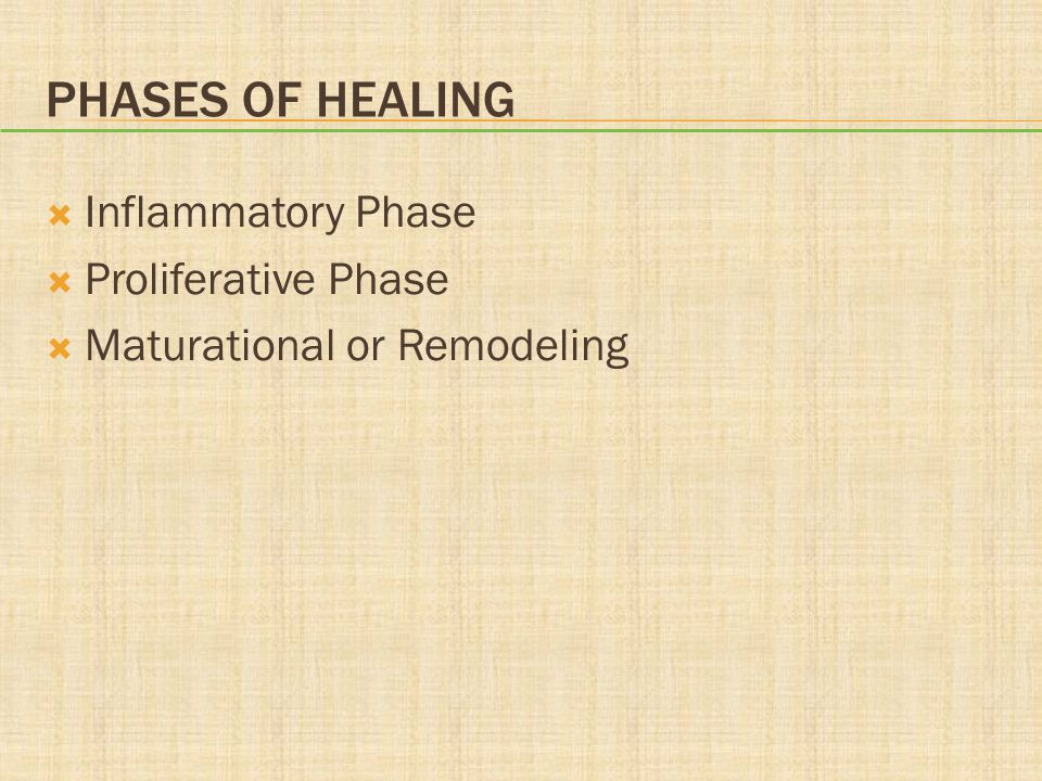 Phases of Healing Inflammatory Phase Proliferative Phase
