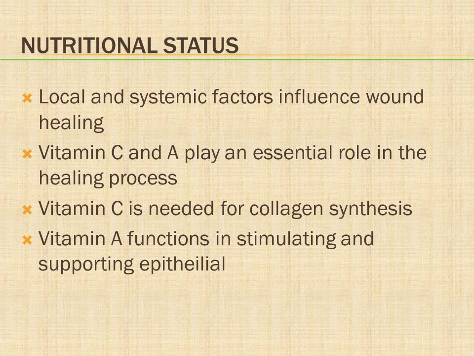 Nutritional Status Local and systemic factors influence wound healing