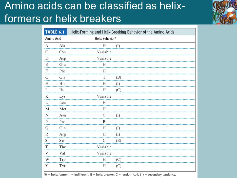 Amino acids can be classified as helix-formers or helix breakers