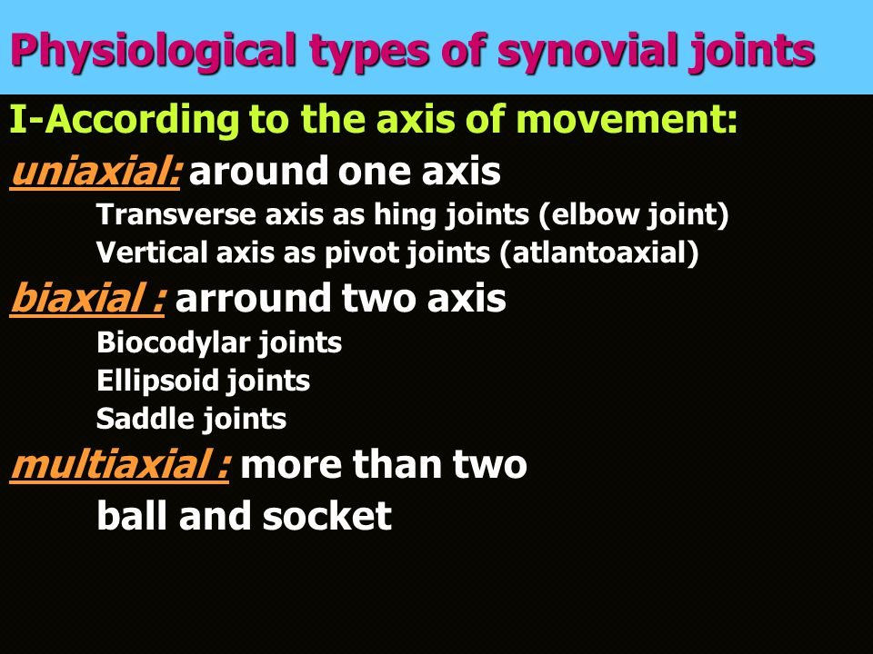 Physiological types of synovial joints