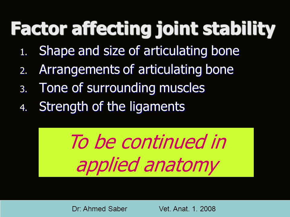 Factor affecting joint stability