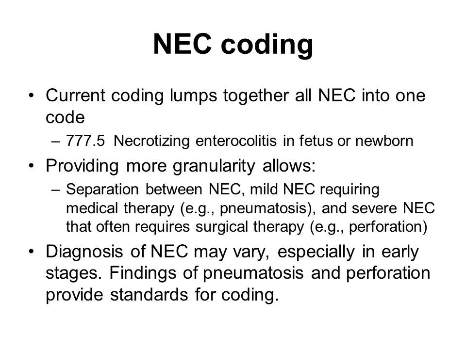 NEC coding Current coding lumps together all NEC into one code
