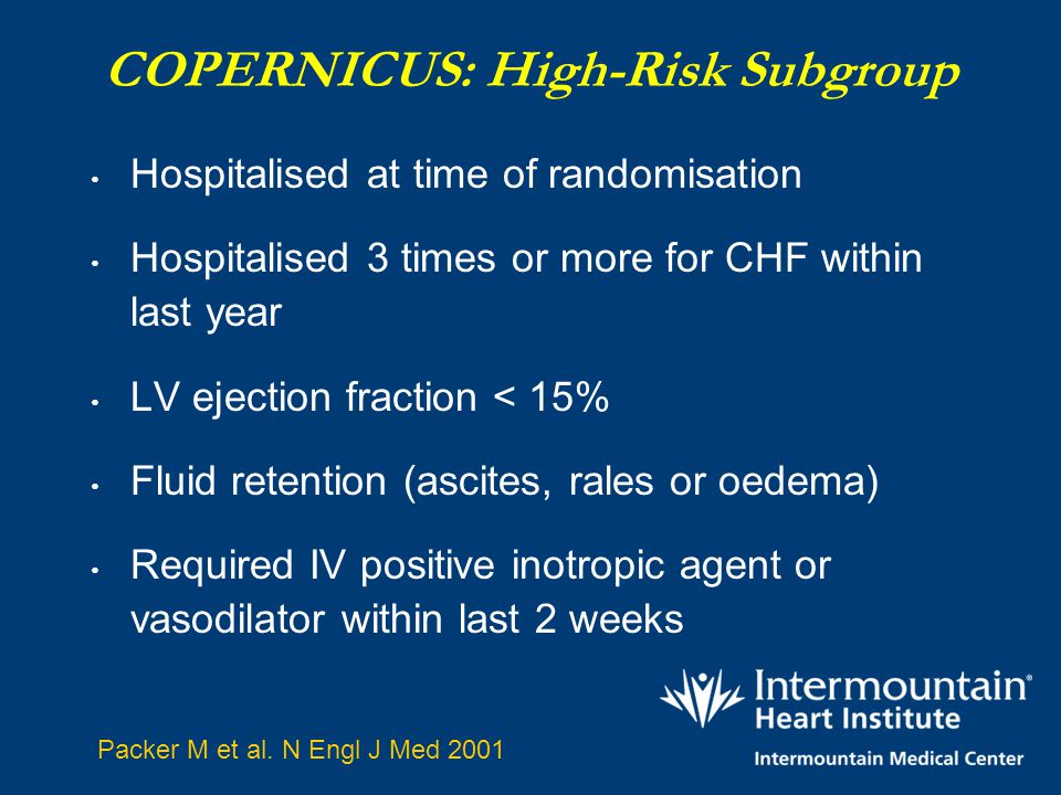 COPERNICUS: High-Risk Subgroup