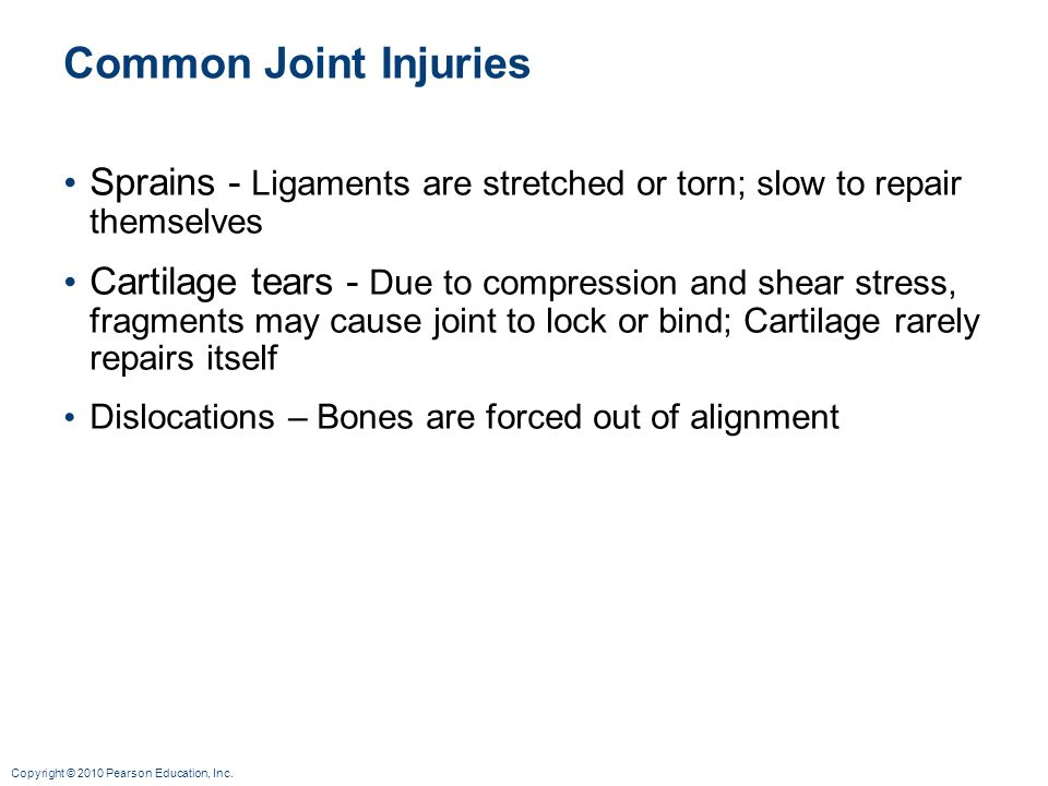 Common Joint Injuries Sprains - Ligaments are stretched or torn; slow to repair themselves.