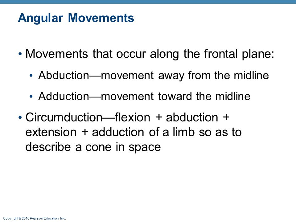 Movements that occur along the frontal plane: