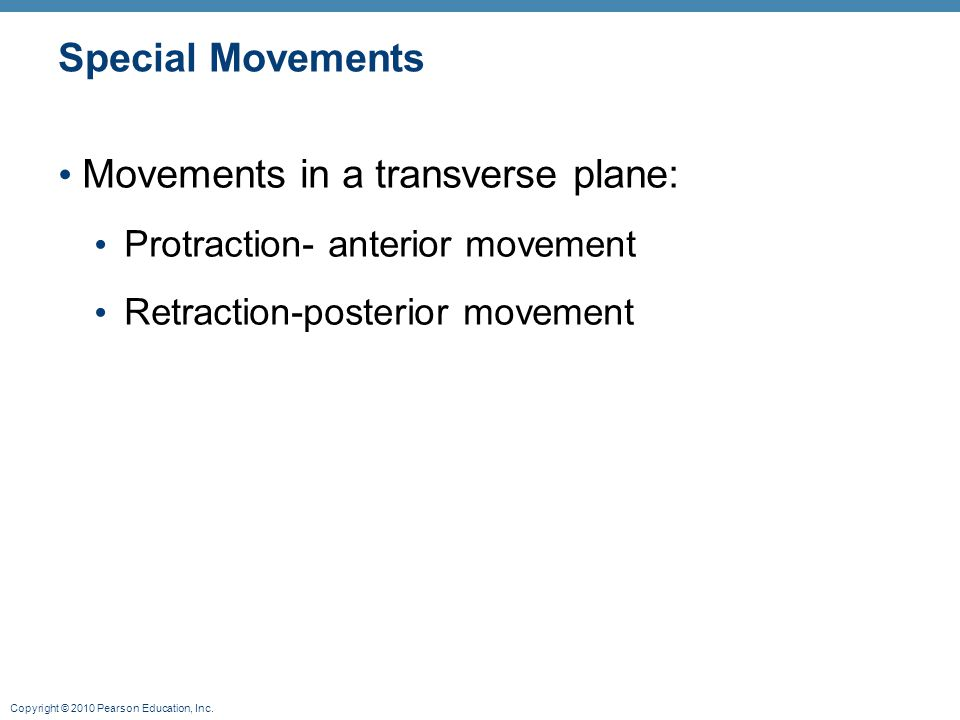 Movements in a transverse plane: