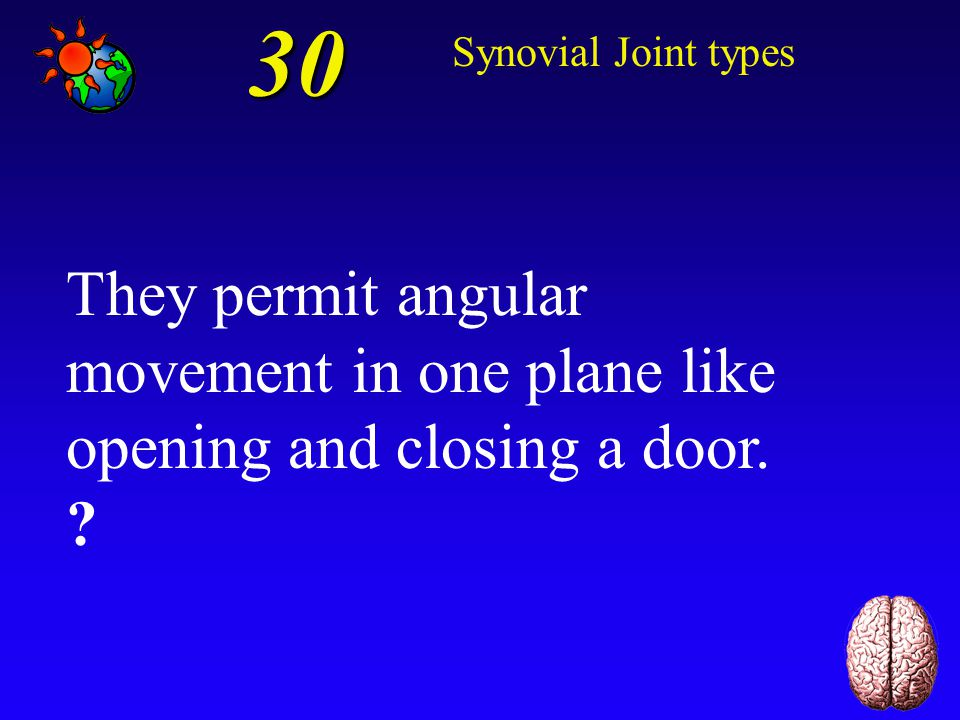 30 Synovial Joint types. They permit angular movement in one plane like opening and closing a door.