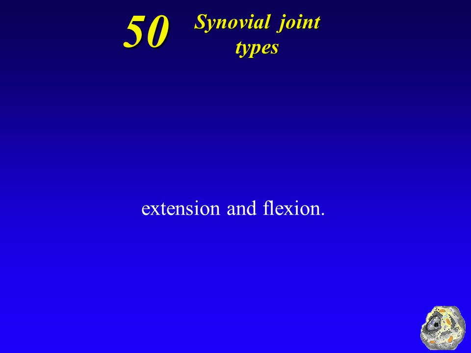50 Synovial joint types extension and flexion.