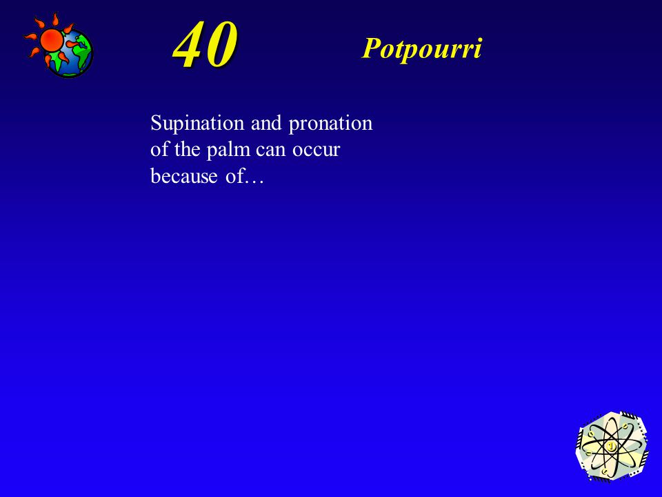 40 Potpourri Supination and pronation of the palm can occur because of…
