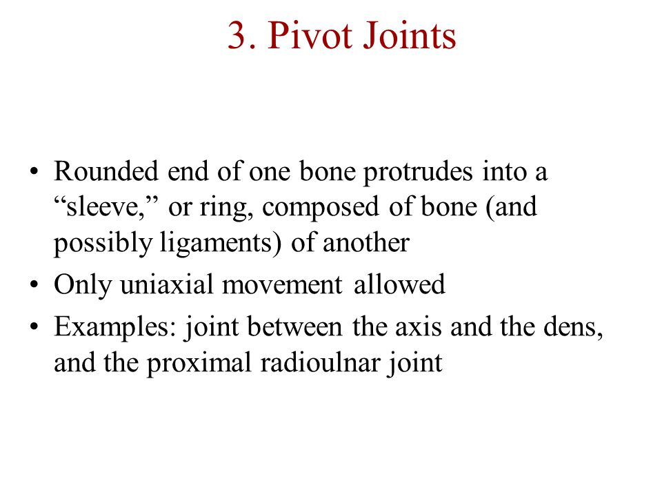 3. Pivot Joints Rounded end of one bone protrudes into a sleeve, or ring, composed of bone (and possibly ligaments) of another.