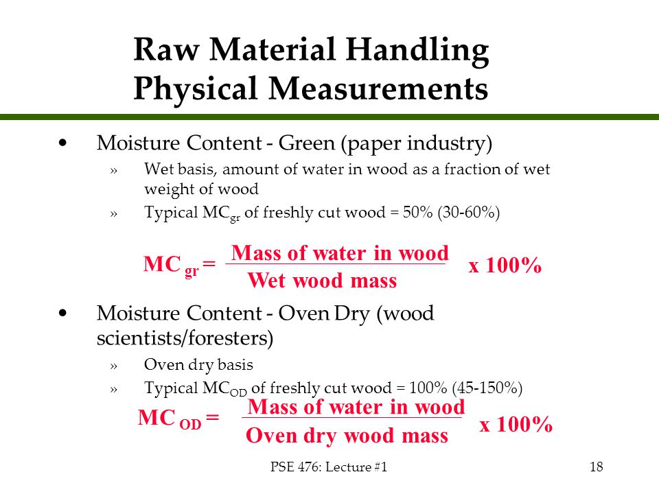 Raw Material Handling Physical Measurements
