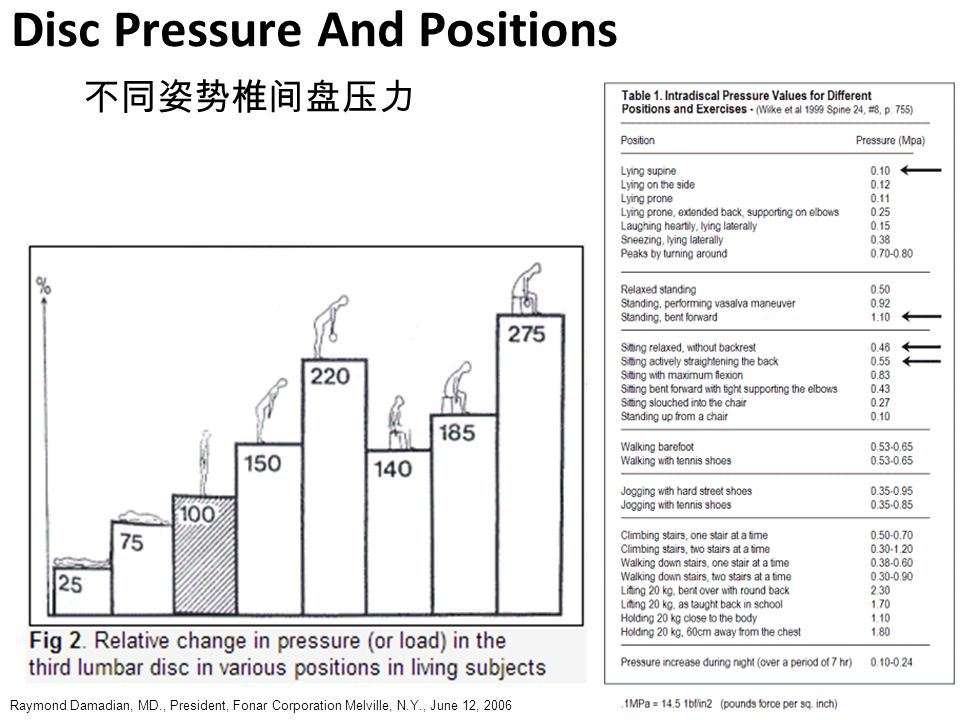 Disc Pressure And Positions 不同姿势椎间盘压力