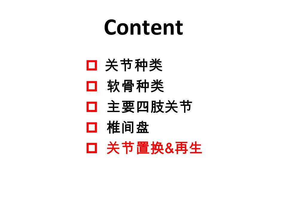 Content 关节种类 软骨种类 主要四肢关节 椎间盘 关节置换&再生