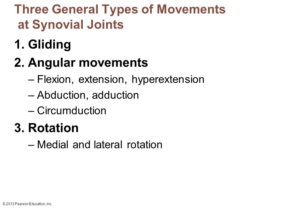 Three General Types of Movements at Synovial Joints