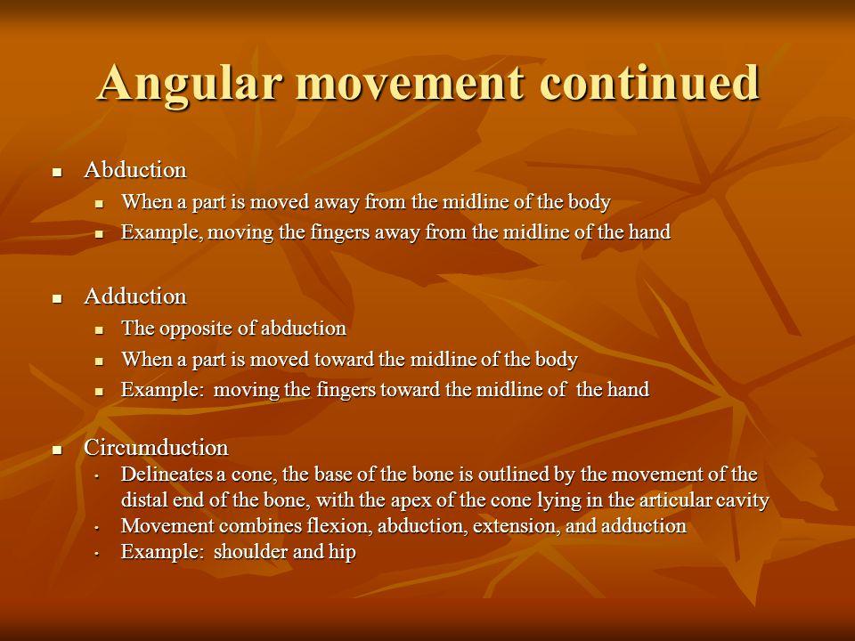 Angular movement continued