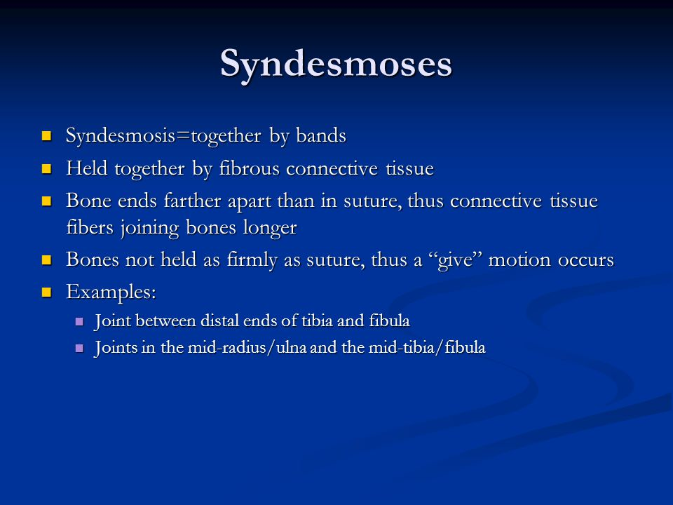 Syndesmoses Syndesmosis=together by bands