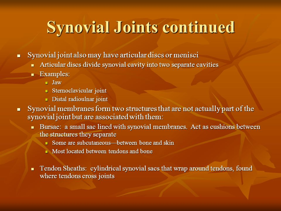 Synovial Joints continued
