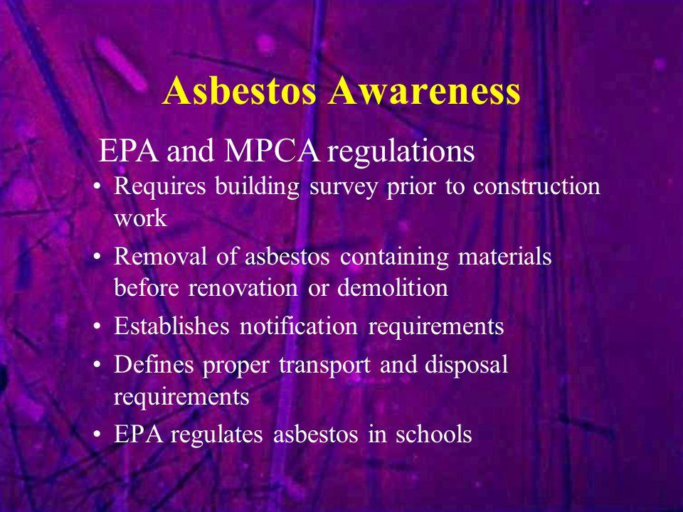Asbestos Awareness EPA and MPCA regulations
