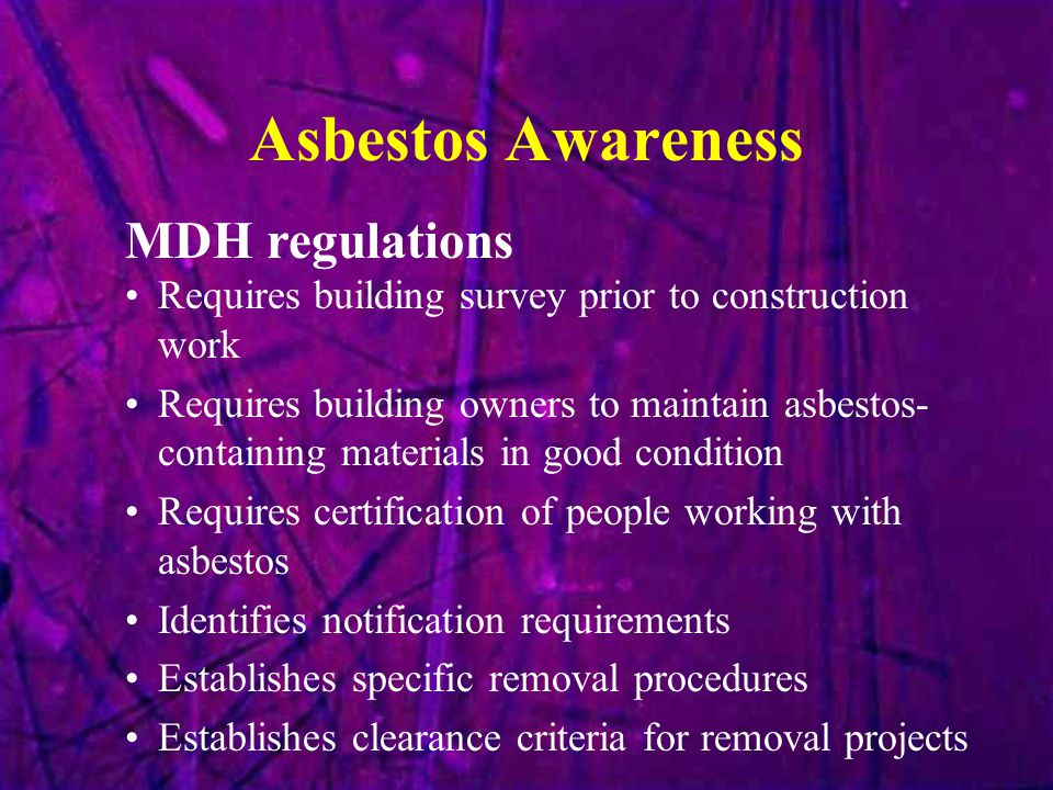 Asbestos Awareness MDH regulations
