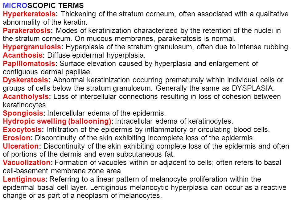 MICROSCOPIC TERMS Hyperkeratosis: Thickening of the stratum corneum, often associated with a qualitative abnormality of the keratin.
