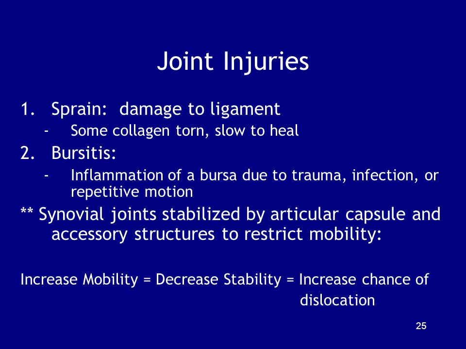 Joint Injuries Sprain: damage to ligament Bursitis: