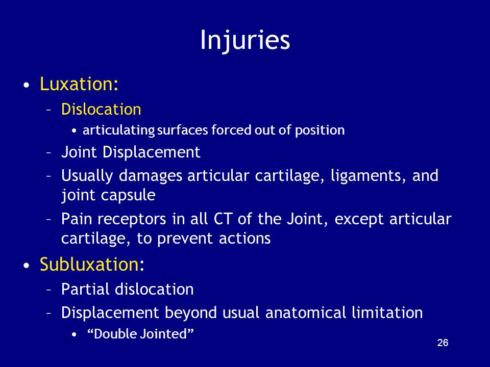 Injuries Luxation: Subluxation: Dislocation Joint Displacement
